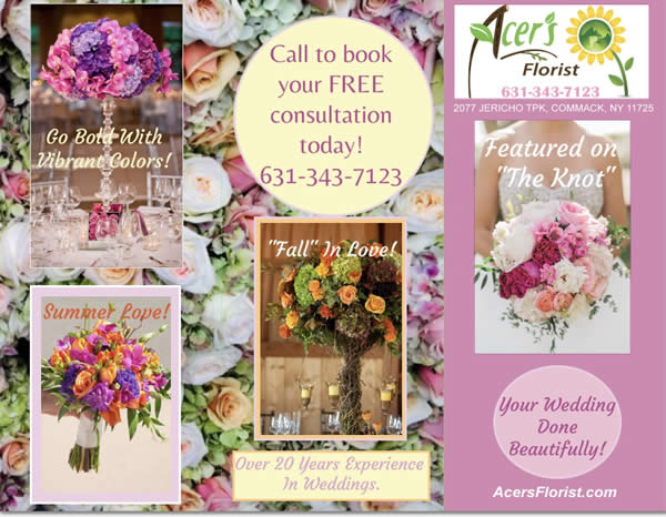 Your Wedding Done Beautifully - Call 631-343-7123 for a free consultation